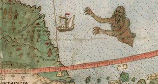 یک پری دریایی که به یک کشتی در نزدیکی ساحل ونزوئلا حمله میکند. در آن زمان مرسوم بود که جای خالی روی نقشهها را با نقاشیهایی از این دست پر میکردند.