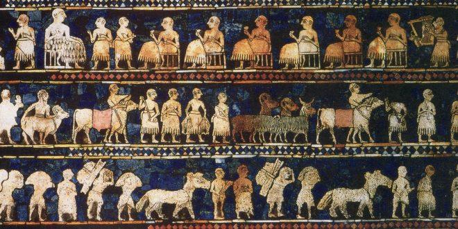 این اثر از مقبرههای اشرافی شهر «اور» یافت شده است و نمایانگر زمان صلح یا استراحت میباشد.